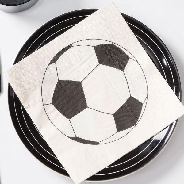 Servietten Fußball, schwarz-weiß