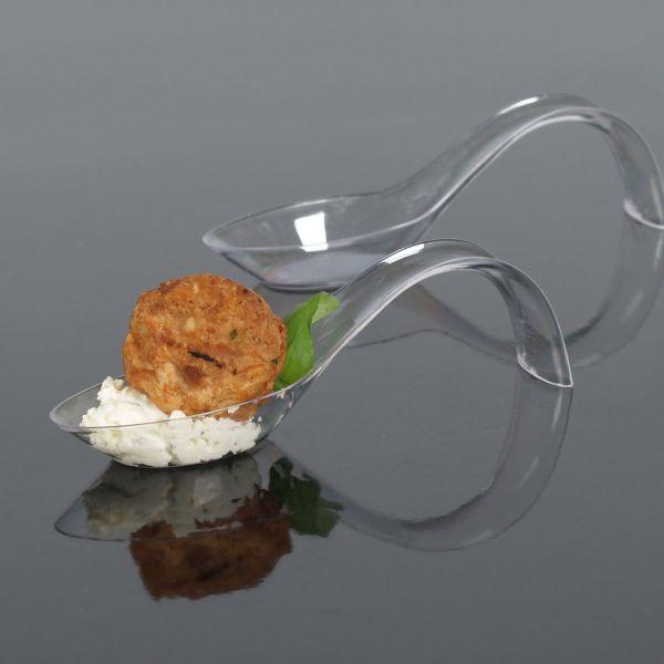 Fingerfood Buffet-Löffel, geschwungentransparent