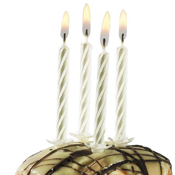 Geburtstagskerzen mit Halter, weiß