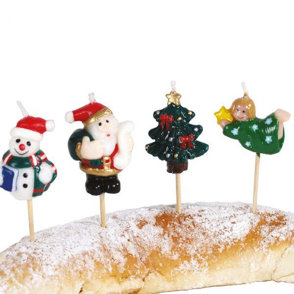 Partykerzen auf Picker Weihnachten, bunt gemischt