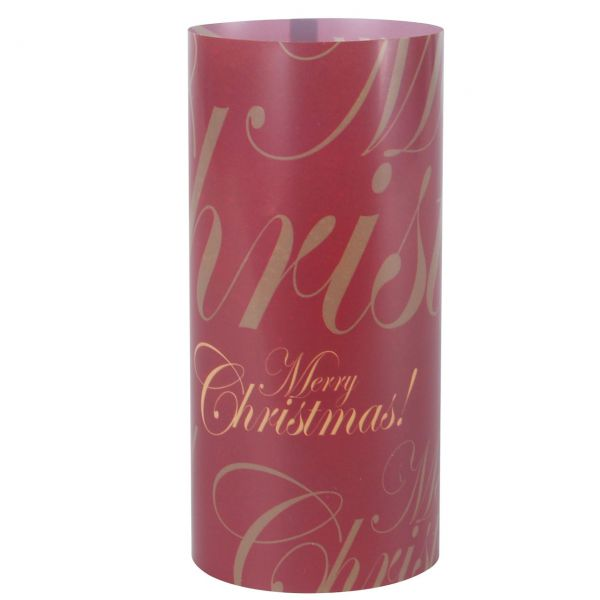 Windlicht Merry Christmas, rot-gold