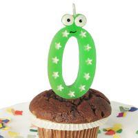 Geburtstags-Zahlenkerze mit Augen Zahl 0, grün / weiß