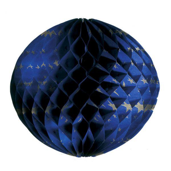Wabenball 30cm, blau m. goldenen Sternchen