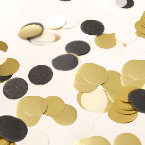 Konfetti Punkte, schwarz-weiß-gold