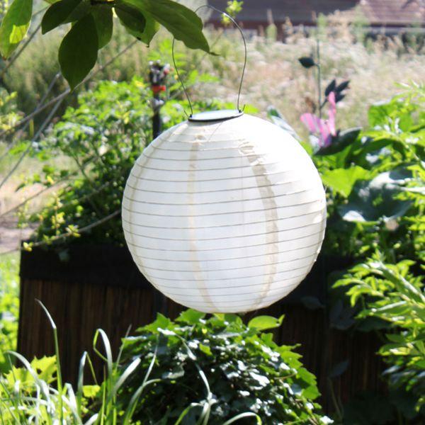 Solar LED-Laterne, wetterfest, rund, sandhell