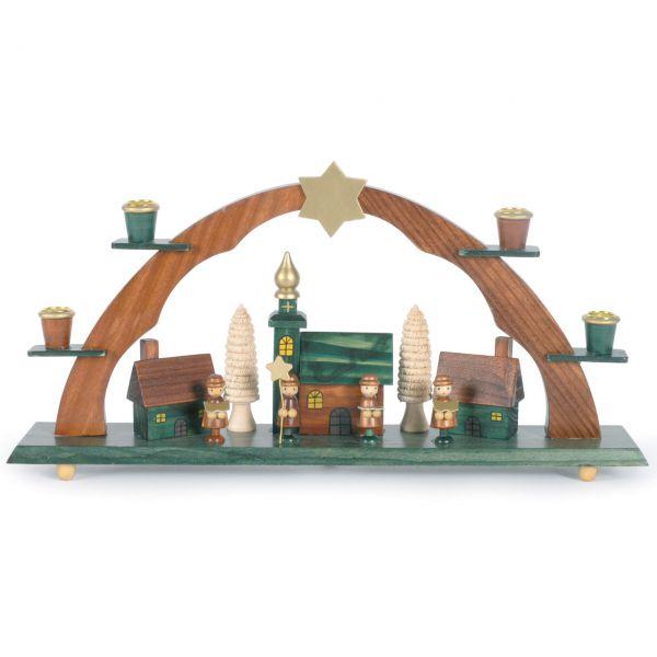 Schwibbogen Kirche und Kurrendesänger, natur Kerzen