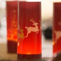 Windlicht Rentiere, rot-gold-weiß 2 Motivbögen