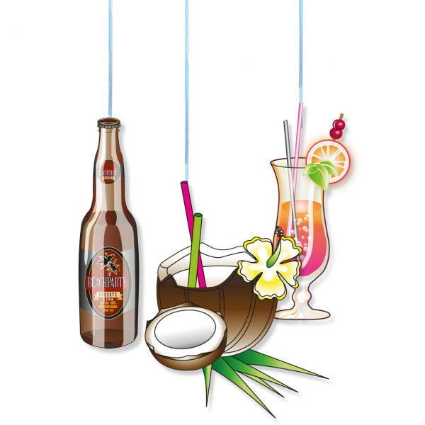 Hänge-Dekoration Drinks, bunt
