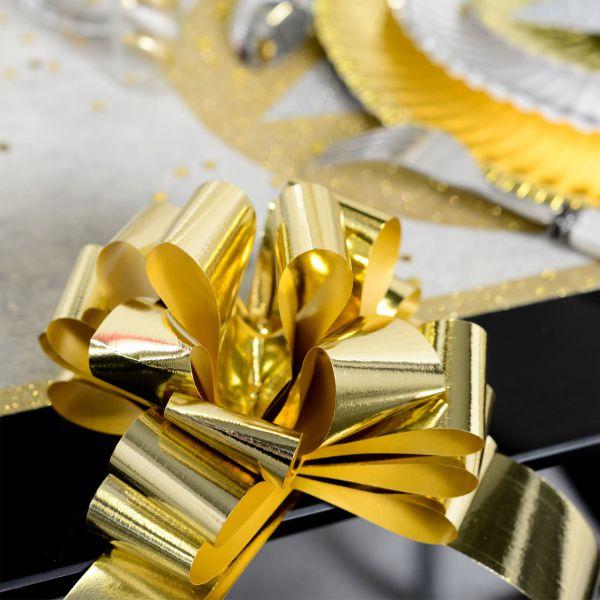 Automatik Ziehschleife XL, metallic-gold