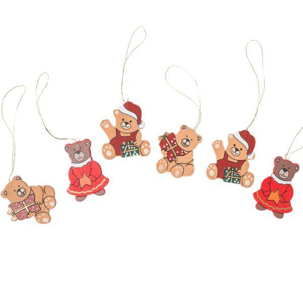 Anhänger Weihnachtsbär, Holz, gemischt
