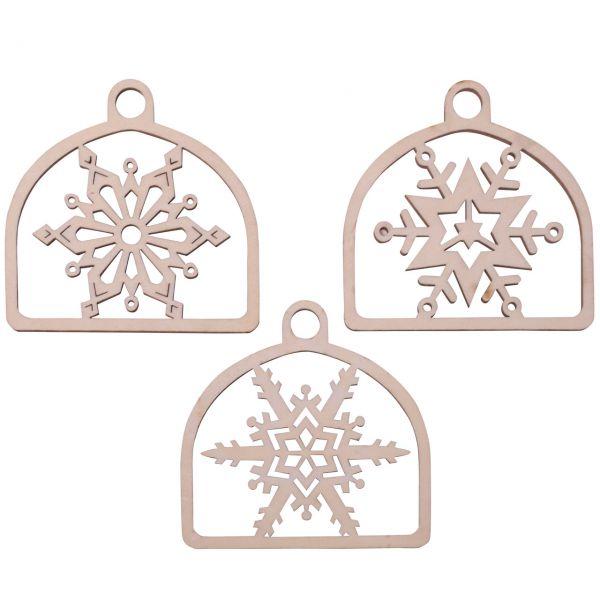 Anhänger 3 Schneeflocken im Bogen