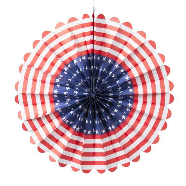 Deko-Fächer USA, weiß-blau-rot