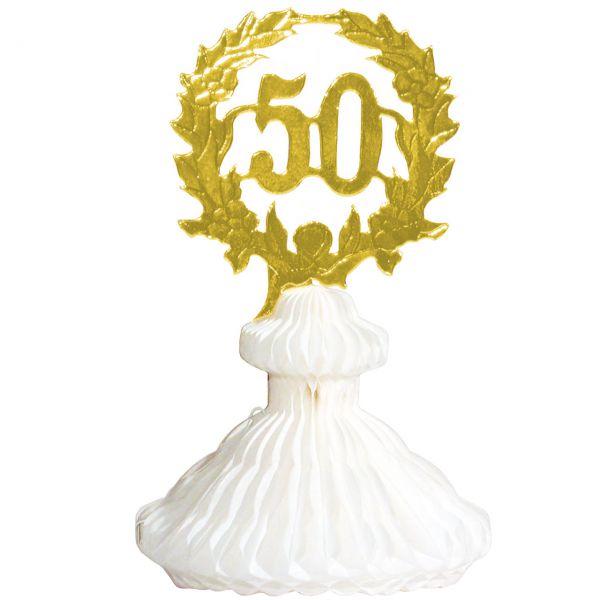 Tischdekoration 50 Jahre, weiß-gold