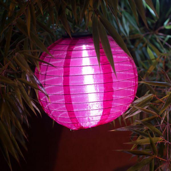 Solar LED-Laterne, wetterfest, rund, bordeaux