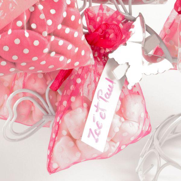 Gastgeschenk Organza-Säckchen Punkte, pink