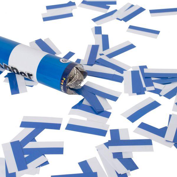 Konfetti-Kanone, Papierstreifen, blau-weiß