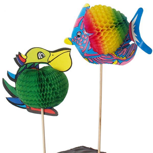 Party-Picker Fisch und Pelikan, bunt