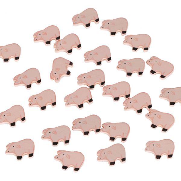 Streudeko Holz-Konfetti Schweinchen, rosa