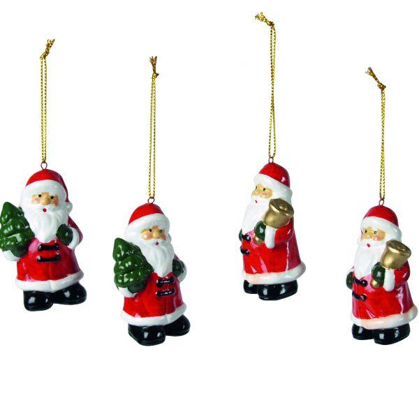 Anhänger Weihnachtsmänner, Keramik rot-weiß