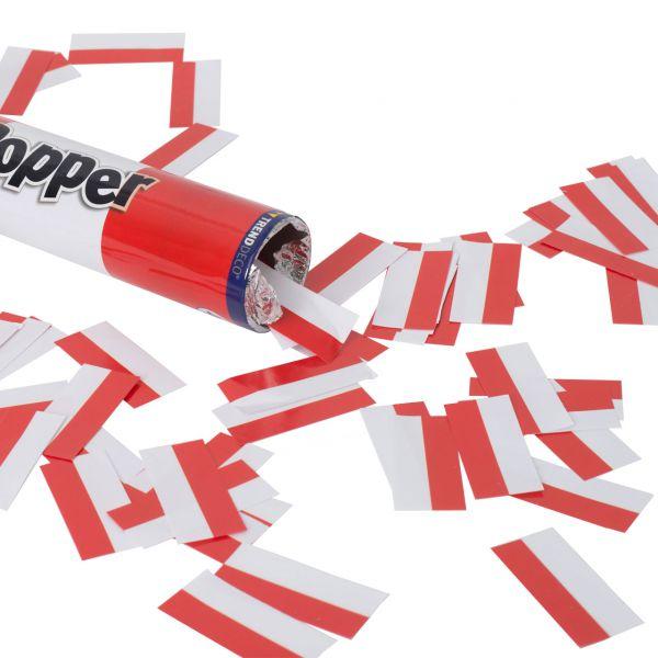 Konfetti-Kanone, Papierstreifen, rot-weiß