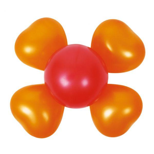 Luftballon Dekoset 2 Blumen, orange-rot
