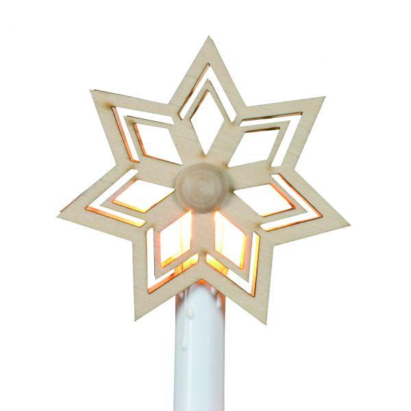 Aufstecker für elektrische Christbaumkerzen Stern