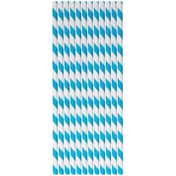 Papier Trinkhalme 0,6 x 20cm, Streifen blau-weiß