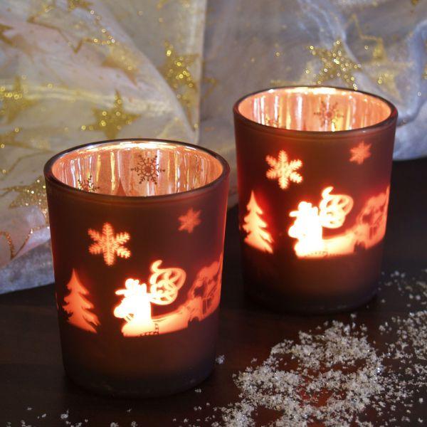 Teelichtgläser Sterne und Rentier, kupfer-silber