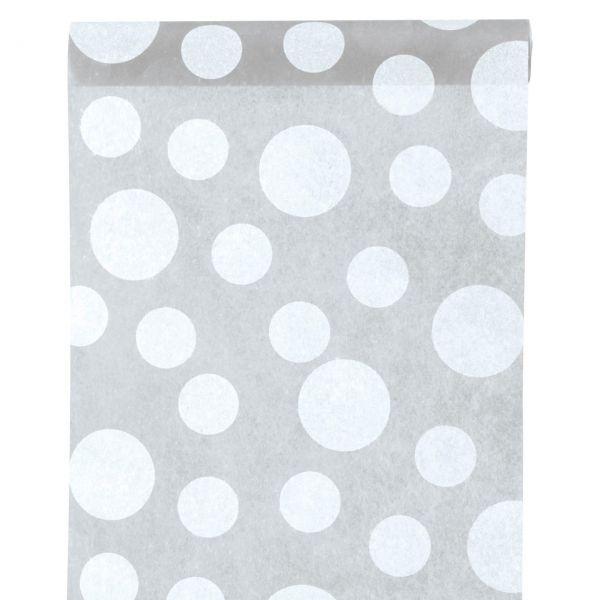 Tischläufer weiße Punkte, B: 30cm, grau