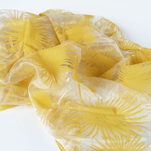 Organza Blumen, beflockt, gold-sandhell