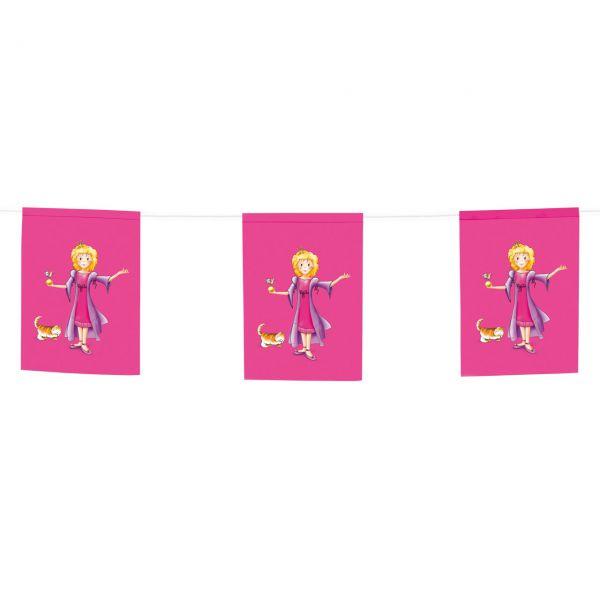 Papier Flaggenkette Prinzessin, pink