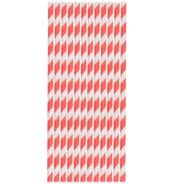 Papier Trinkhalme 0,6 x 20cm, Streifen rot-weiß