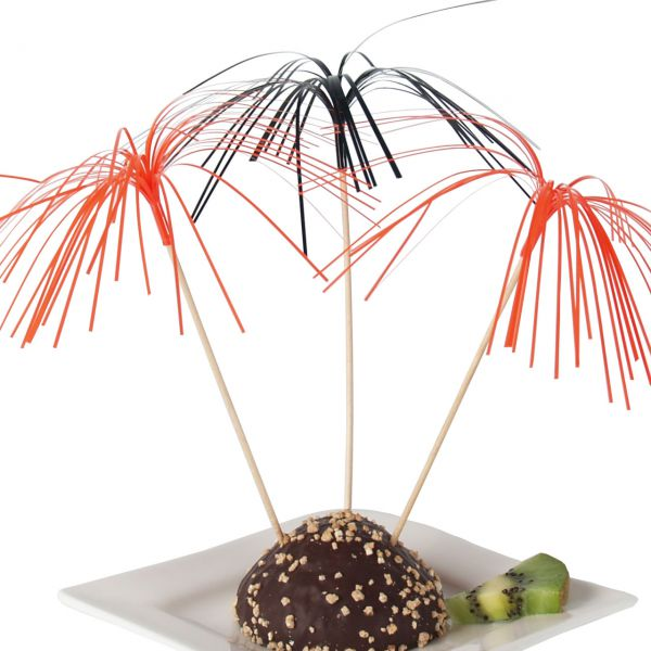 Deko-Picker Palmwedel, orange-schwarz