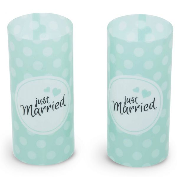Windlicht Just Married-Set, mint