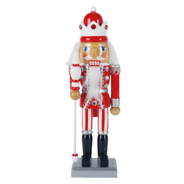 Nussknacker König 25cm, rot-weiß