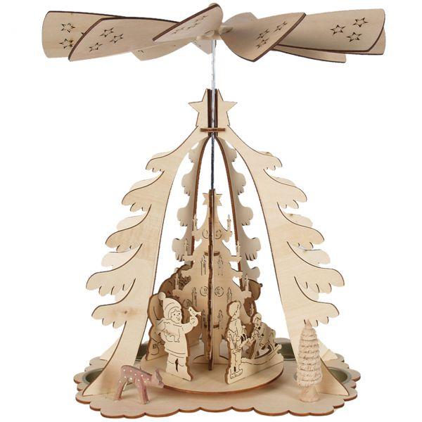 Weihnachts-Pyramide in Tannenform mit Teelichthaltern, natur gelasert