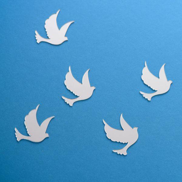 Streudeko Tauben verspiegelt, silber
