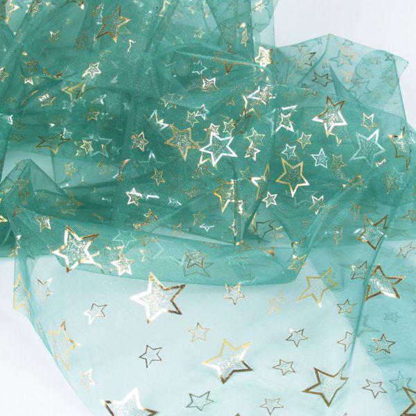 Organza Sterne, gold und silber, auf grün