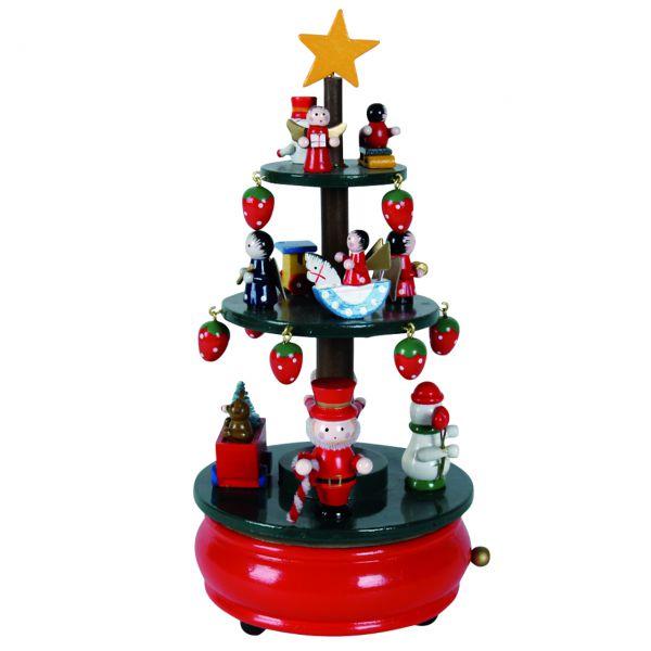 Spieluhr Weihnachtslied: Deko-Baum mit Figuren Holz