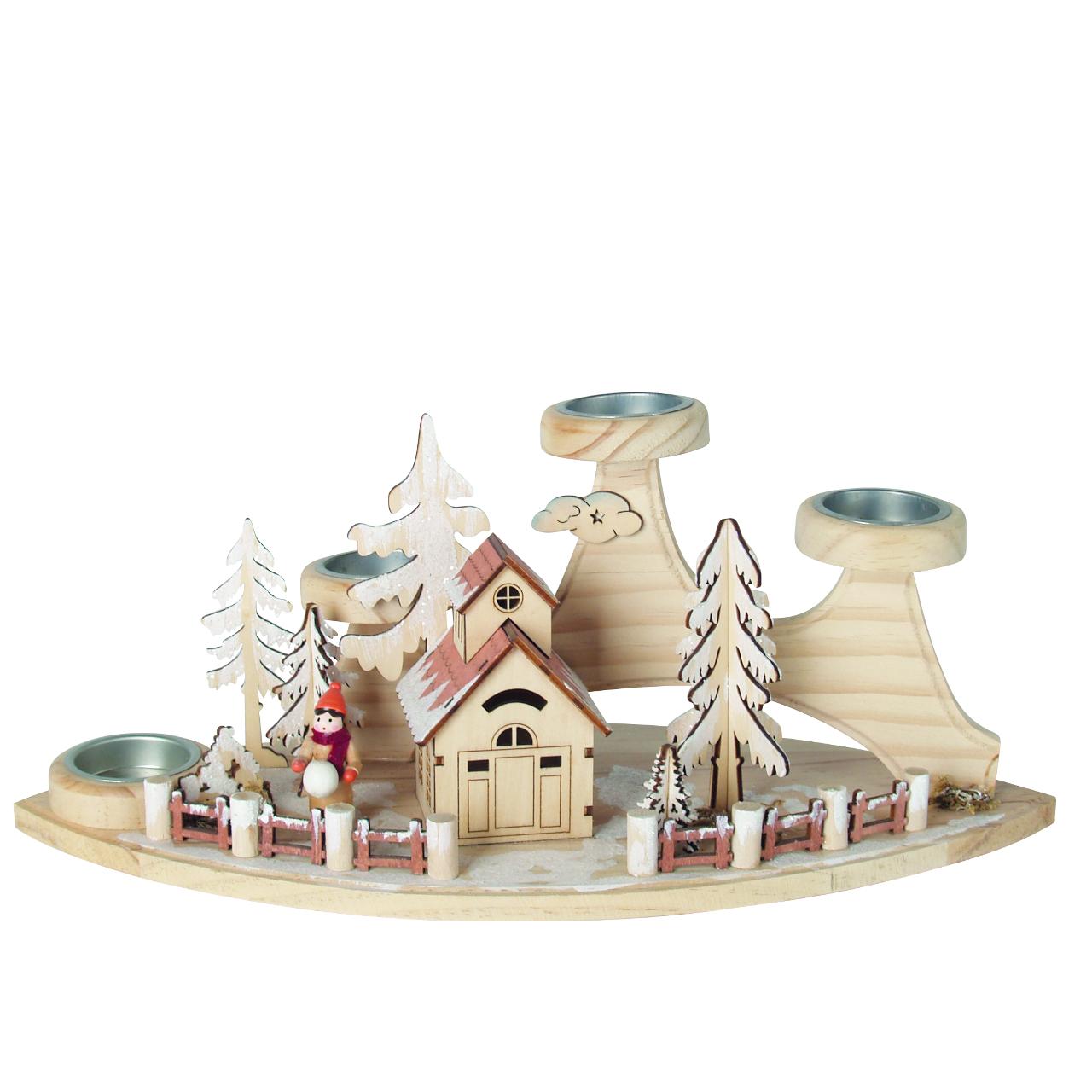 Teelichthalter haus in winterlandschaft holz natur - Winterlandschaft deko ...