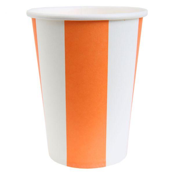 Papp-Trinkbecher weiße Streifen, orange