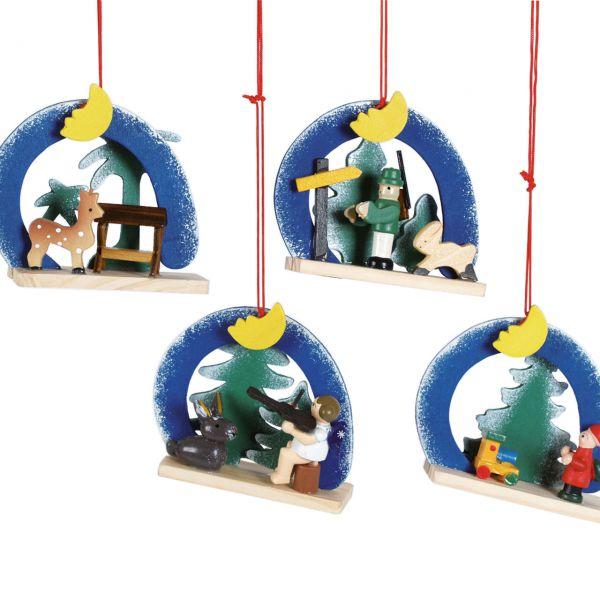 Anhänger Bogen mit Figuren, Holz farbig