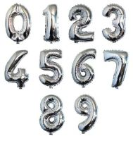 Zahl 0-9 Folienballon XXL, H: 1m, silber Zahl: 0