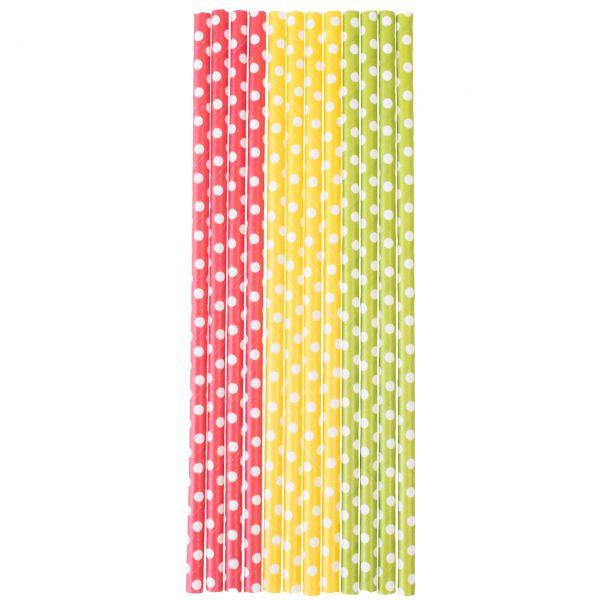 Papier Trinkhalme 0,6 x 20cm, Punkte gelb, rot, grün