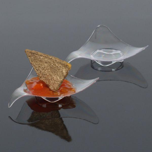Fingerfood Buffet-Miniteller, 3 eckig-geschwungen, transparent