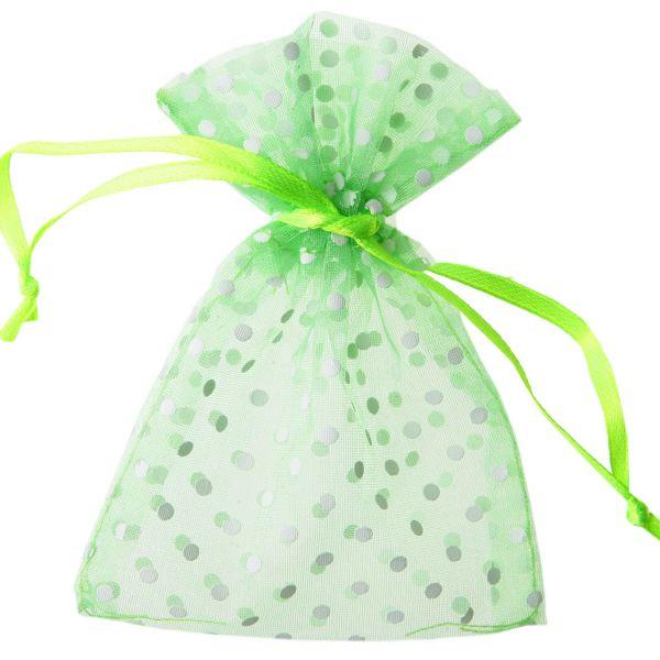 Gastgeschenk Organza-Säckchen Punkte, grün
