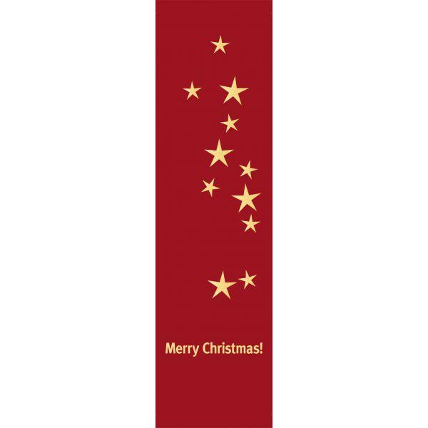 Banner Merry Christmas Sterne wetterfest, rot-gold