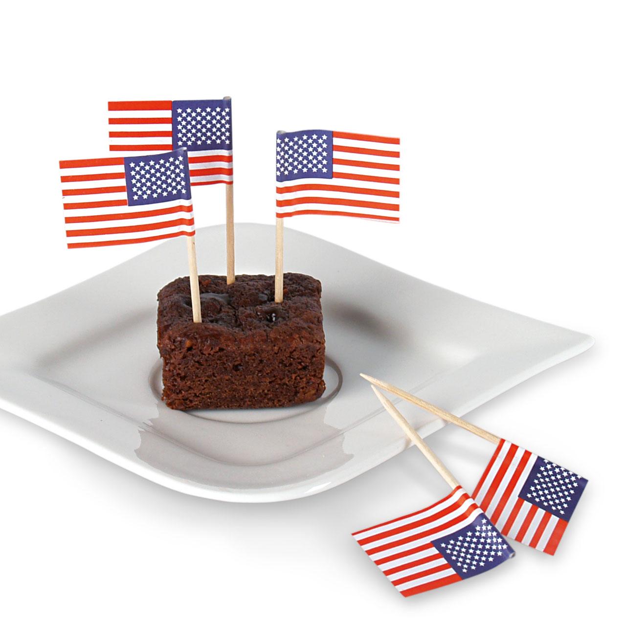 Party-Picker Flagge USA, Weiß-blau-rot, 50 Stück