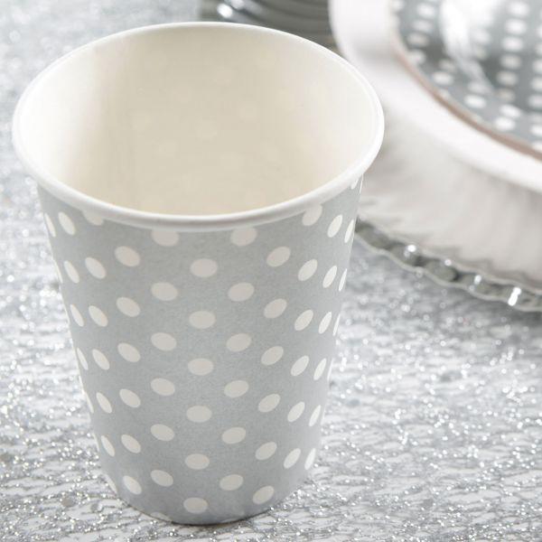Papp-Trinkbecher weiße Punkte, grau