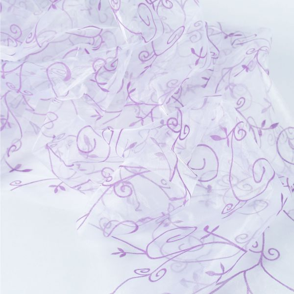 Organza Lilien, beflockt, violett-transparent